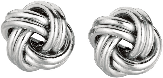 "Silver Rhodium Plated 13.0mm (1/2"") Shiny Love Knot Earrings"
