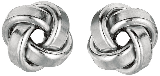 "Silver Rhodium Plated 9.0mm (1/3"") Love Knot Earrings"