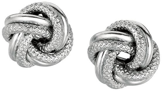 "Silver Rhodium Plated 7.0mm (2/7"") Shiny Textured Love Knot Earrings"