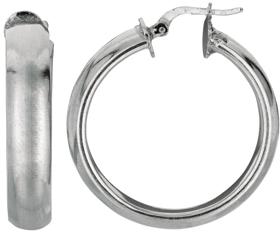 "Silver Rhodium Plated Shiny 6.0x25mm (0.24""x0.98"") Hoop Earrings"
