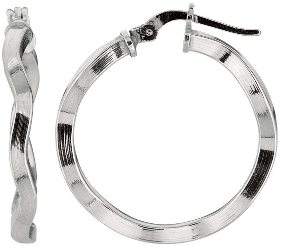 "Silver Rhodium Plated Shiny 2.0x20mm (0.08""x0.79"") Twisted Hoop Earrings"