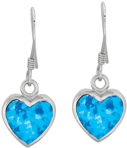 Silver Rhodium Plated Shiny Heart Shape Drop Earrings w/ Created Opal