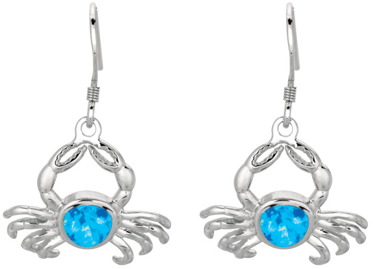 Silver Rhodium Plated Shiny Created Opal Crab Drop Earrings