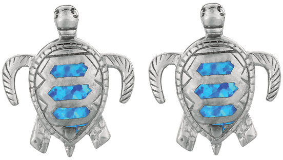 Silver Rhodium Plated Shiny Textured Created Opal Turtle Drop Earrings