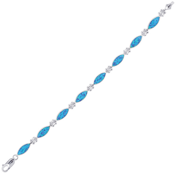 "8"" 925 Sterling Silver Rhodium Plated Textured Shiny Marquise Shape Created Opal Bracelet w/ Lobster Clasp"