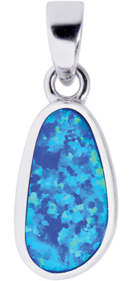 Silver Rhodium Plated Shiny Oval Pendant w/ Created Opal (BTAGEP101)