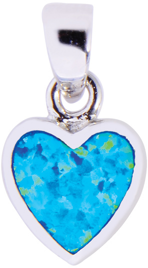 Silver Rhodium Plated Shiny Heart Pendant w/ Created Opal