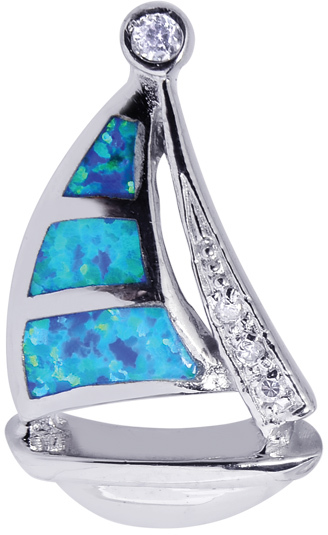 Silver Rhodium Plated Shiny Textured Created Opal Sail Boat Pendant