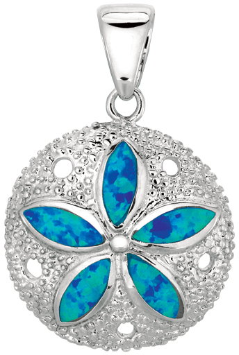 Silver Rhodium Plated Shiny Textured Created Opal Flower On Sand Dollar Pendant