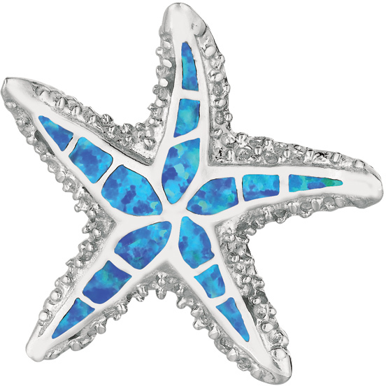 Silver Rhodium Plated Shiny Textured Created Opal Starfish Pendant (BTAGEP384)
