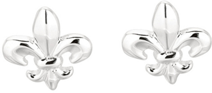 Silver Rhodium Plated Shiny Fluer-de-lis Sea Life Post Earrings