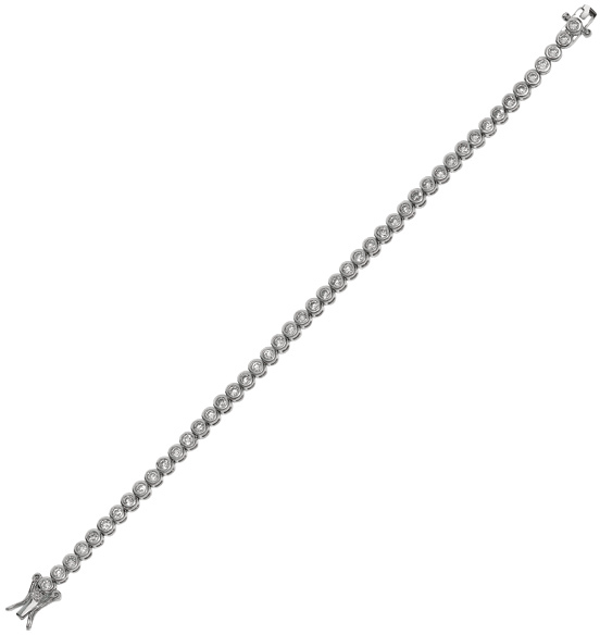 "7.25"" 925 Sterling Silver Rhodium Plated Shiny 5mm (1/5"") Round Clear Cubic Zirconia (CZ) Tennis Bracelet w/ Box Catch Clasp"