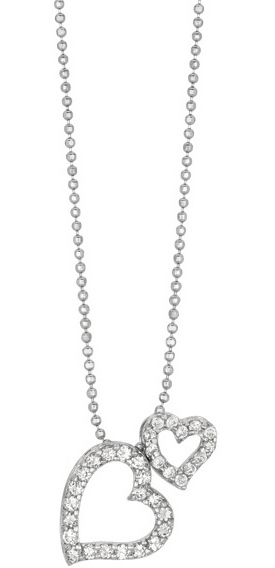 "18"" Rhodium Plated 925 Sterling Silver Shiny 1.0mm (0.04"") Diamond Cut Bead Chain w/ Lobster Clasp & Double Heart Pendant w/ Clear Cubic Zirconia (CZ)"