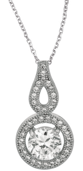 "18"" Rhodium Plated 925 Sterling Silver 1.1mm (0.04"") Cable Chain w/ Lobster Clasp & 14mm Open Ring w/ Clear Cubic Zirconia (CZ) Pendant"