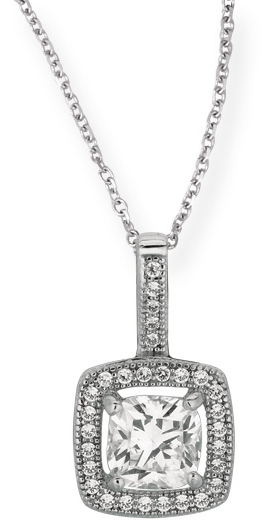 "18"" Rhodium Plated 925 Sterling Silver 1.1mm (0.04"") Cable Chain w/ Lobster Clasp & 12mm Square w/ Clear Cubic Zirconia (CZ) Pendant"
