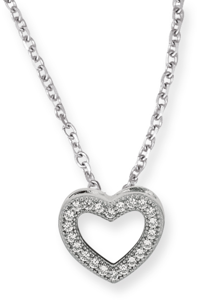 "18"" Rhodium Plated 925 Sterling Silver 1.1mm (0.04"") Cable Chain w/ Lobster Clasp & 12mm Open Heart w/ Clear Cubic Zirconia (CZ) Pendant"