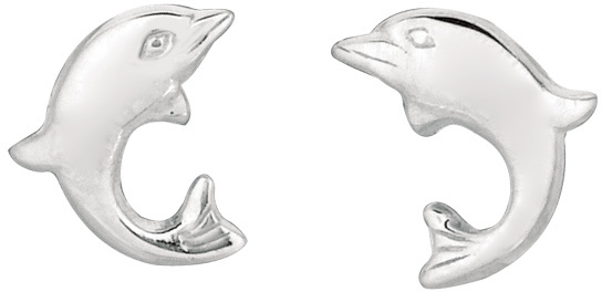 Silver Rhodium Plated Shiny Small Dolphin Children Post Earrings