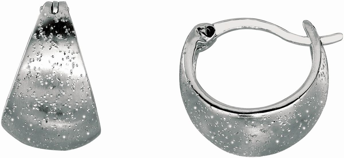Silver Rhodium Plated Shiny Textured Graduated Hoop Type Earrings
