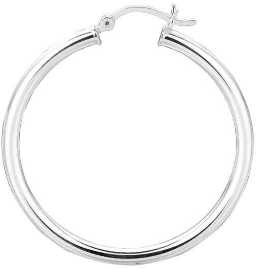 "Silver Rhodium Plated Shiny 3.0x35mm (0.12""x1.38"") Round Hoop Earrings"