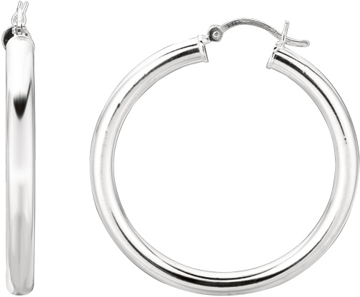 "Silver Rhodium Plated Shiny 4.0x35mm (0.16""x1.38"") Round Hoop Earrings"