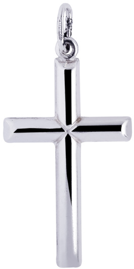 "Silver Rhodium Plated 20x35mm (0.79""x1.38"") Shiny Cross Pendant"