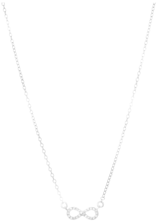 "18"" CZ Infinity Symbol Necklace Rhodium Plated 925 Sterling Silver Shiny Cable (BTAGN1084-18)"