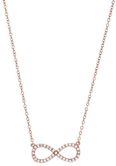 "18"" Infinity Symbol CZ Necklace 925 Sterling Silver Rose Gold Plated Shiny Cable"