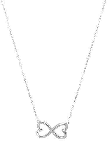 "18"" Rhodium Plated 925 Sterling Silver Shiny Chain Necklace w/ Fancy Infinity Symbol"