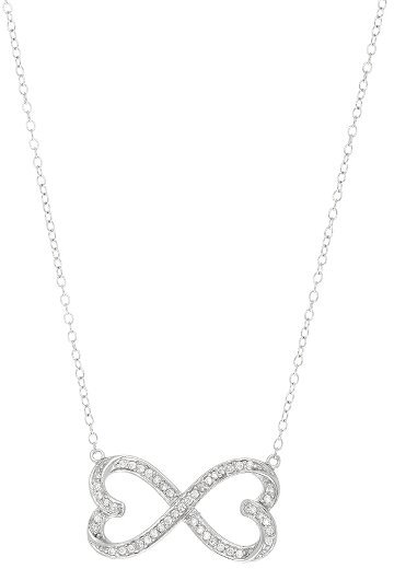 "18"" CZ Infinity Symbol Necklace Rhodium Plated 925 Sterling Silver Shiny Cable (BTAGN1173-18)"
