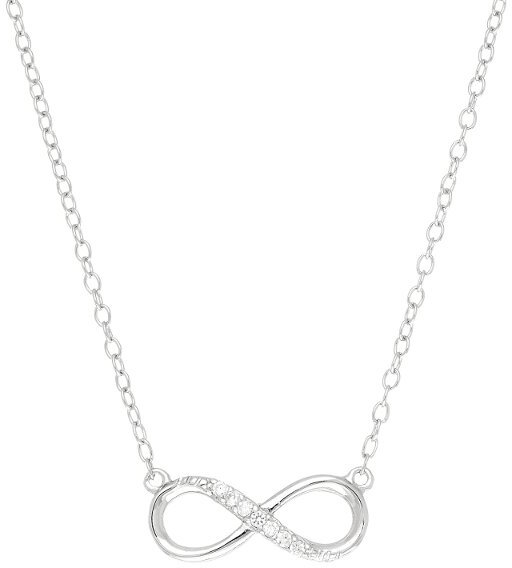 "18"" CZ Infinity Symbol Necklace Rhodium Plated 925 Sterling Silver Shiny Cable (BTAGN1175-18)"