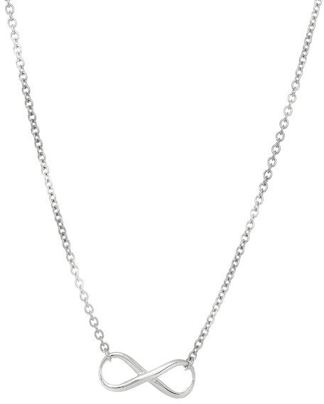 "18"" 2.5mm (1/10"") Oval Link Infinity Symbol Necklace Rhodium Plated 925 Sterling Silver"