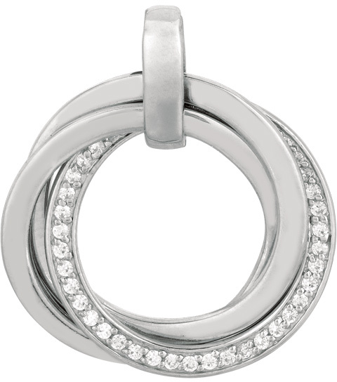 "18"" Rhodium Plated 925 Sterling Silver 1.1mm (0.04"") Cable Chain w/ Lobster Clasp w/ Concentric Circle Ring Pendant & White Stone"