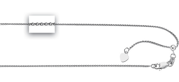 "22"" Rhodium Plated 925 Sterling Silver 1.0mm (0.04"") Diamond Cut Adjustable Spiga Chain w/ Lobster Clasp"