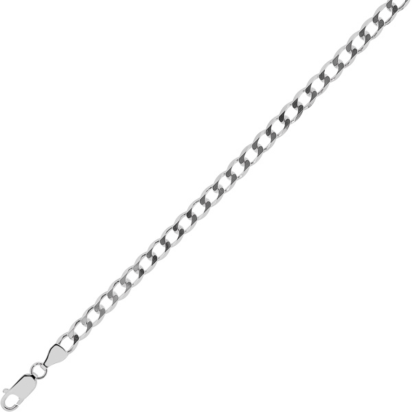 "30"" 4.7mm (3/16"") Rhodium Plated Polished Diamond Cut 925 Sterling Silver Curb Chain w/ Lobster Clasp"