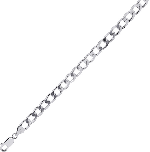 "24"" 5.5mm (2/9"") Rhodium Plated Polished Diamond Cut 925 Sterling Silver Curb Chain w/ Lobster Clasp"