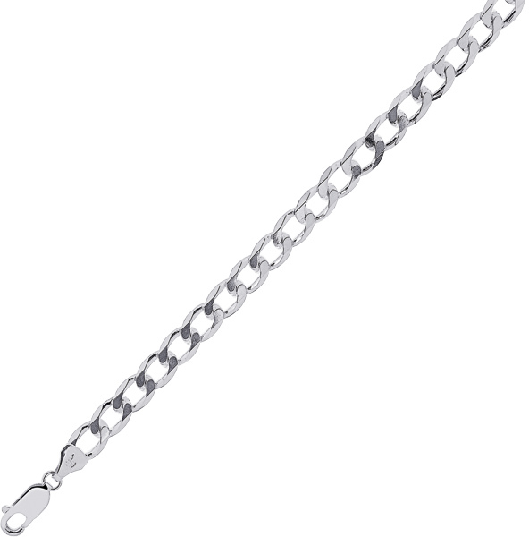 "30"" 7.0mm (2/7"") Rhodium Plated Polished Diamond Cut 925 Sterling Silver Curb Chain w/ Lobster Clasp - DISCONTINUED"