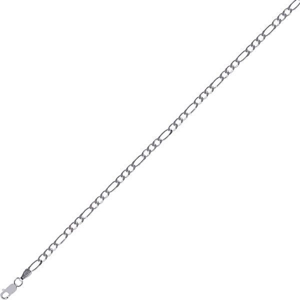 "16"" 3.0mm (1/8"") Rhodium Plated Polished Diamond Cut 925 Sterling Silver Figaro Chain w/ Lobster Clasp"