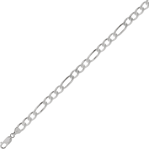 "22"" 7.0mm (2/7"") Rhodium Plated Polished Diamond Cut 925 Sterling Silver Figaro Chain w/ Lobster Clasp"