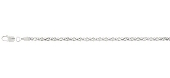 "16"" 3.5mm (1/7"") Rhodium Plated Polished Diamond Cut Fancy 925 Sterling Silver Popcorn Chain w/ Lobster Clasp"
