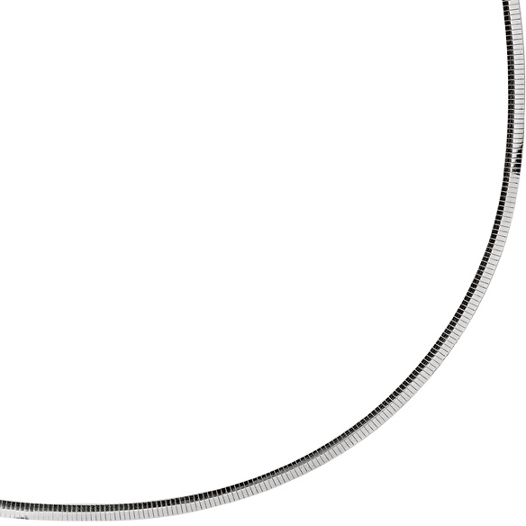 "20"" Rhodium Plated 925 Sterling Silver 4.0mm (1/6"") Diamond Cut Classic Omega w/ Lobster Clasp"