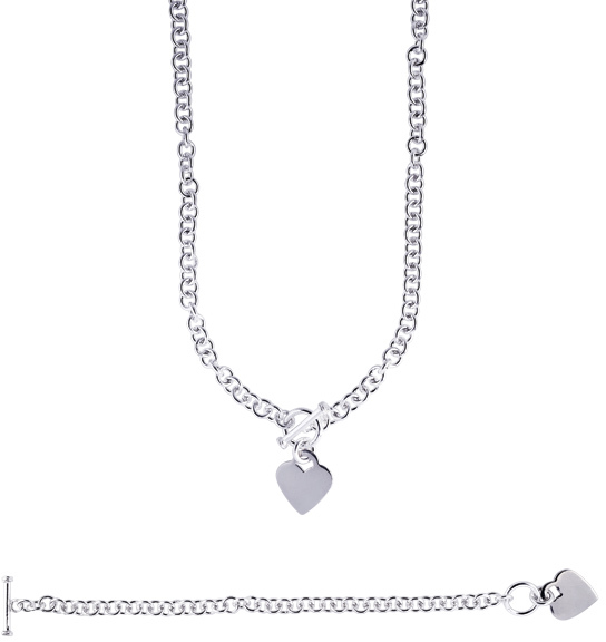 "16"" Rhodium Plated 925 Sterling Silver 6.0mm (1/4"") Shiny Round Cable Chain & Heart Charm w/ Toggle Clasp"