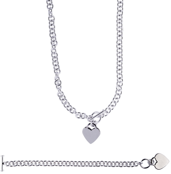 "18"" Rhodium Plated 925 Sterling Silver 7.95mm (5/16"") Shiny Round Cable Link Chain & Heart Charm w/ Toggle Clasp"