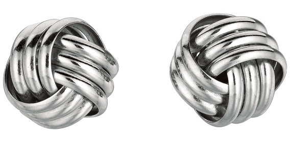 "Silver Rhodium Plated 10.0mm (3/8"") Shiny Love Knot Earrings (BTAGS109)"