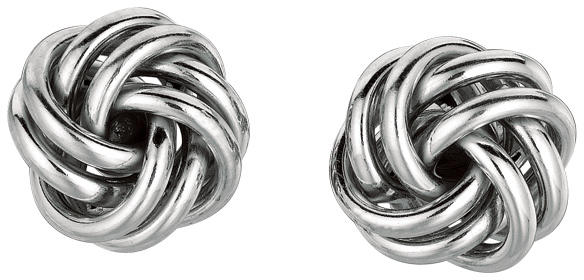 "Silver Rhodium Plated 9.0mm (1/3"") Shiny Love Knot Earrings"