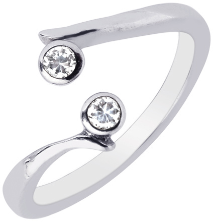 Silver Rhodium Plated Shiny By Pass Type Toe Ring w/ 2-white Cubic Zirconia (CZ)