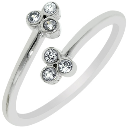 Silver Rhodium Plated Shiny By Pass Like Toe Ring w/ 2 Flower w/ Cubic Zirconia (CZ)