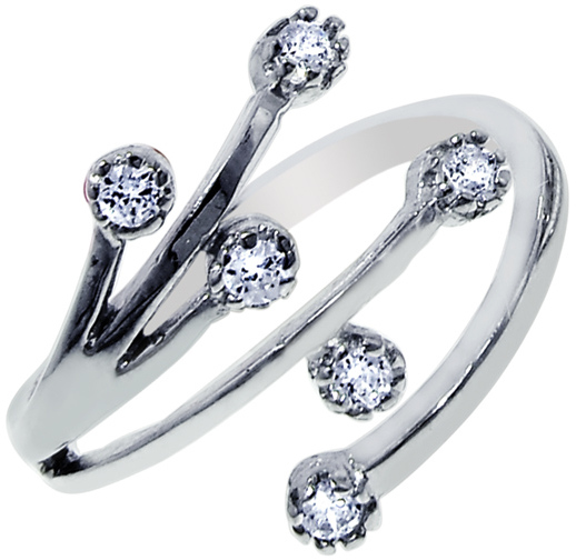Silver Rhodium Plated Shiny By Pass Like Toe Ring w/ 6 Cubic Zirconias (CZ)