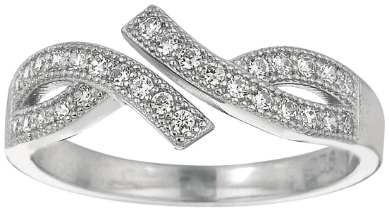 Silver Rhodium Plated Shiny By Pass Like Toe Ring w/ White Cubic Zirconia (CZ) (BTAGTR170)