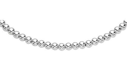 "7.5"" 925 Sterling Silver Rhodium Plated 10.0mm (3/8"") Shiny Bead Bracelet w/ Lobster Clasp"
