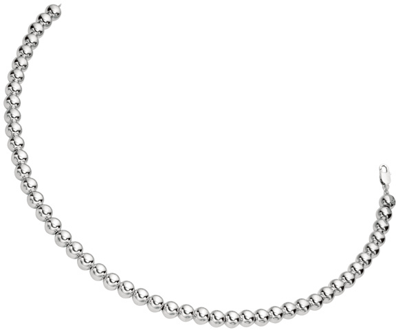 "18"" Rhodium Plated 925 Sterling Silver 8.0mm (1/3"") Shiny Bead Necklace w/ Lobster Clasp."